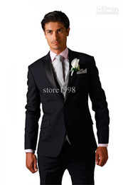 Wholesale Custom Made Black Two Buttons Groom Tuxedos Best Man Peak Satin Lapel Groomsmen Men Wedding Suits Bridegroom Jacket Pants Tie V