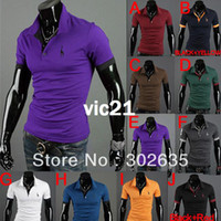 Men Polo Tops Free Shipping 50pcs lot 2013 New Men's Polo Casual Slim Fit Stylish Short-Sleeve t-Shirt Cotton T-shirt Size:M-XXL
