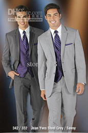 Wholesale New Two Buttons Groom Tuxedos Notch Lapel Groomsmen Men Wedding Suits Jacket Pants Tie Vest M402