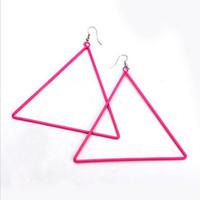 Wholesale Fashion Hot Pink Women Alloy Multicolor Huge Square Hoop Hook Earring C1158