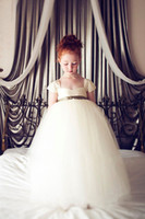 Wholesale New Fashion Little Princess Bow Ribbon Organza Sleeveless Birthday girls toddler pageant gowns Flower Girl dresses