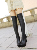 Wholesale 2014 Fashion Patch Work Slim Over The Knee Boots High Platform Thin High Heels Thigh Long Boots Elastic Suede