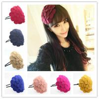 achat en gros de cheveux tête cerceau-Hiver fleur cheveux bande cheveux accessoires épingle à cheveux cheveux cerceau chapeau de laine grosse tête fleur tête coiffure épingle à cheveux