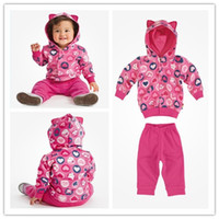 Wholesale Hot Sale sets Baby Girl new design clothing set Hooded sweatshirt pants set Cute kids love tracksuits