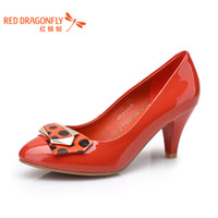 Wholesale Red DRAGONFLY genuine leather shoes fashion wfb31311 polka dot women s japanned leather high heeled shoes
