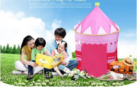 Wholesale FEDEX FREE Lovely Prince amp Princess Palace Castle Children Play Tent Toy Indoor amp Outdoor blue and pink colors mixed