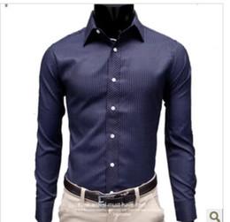 Wholesale hot sales new style men s classic fashion stripe show thin bar long sleeve casual shirt drop shipping