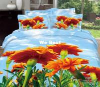 Adult Twill 100% Cotton Big Orange flower blue sky bedding sets 3d 4pcs bedroom sets bed cover bedsheet duvet cover set luxury bed linens set queen size