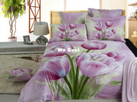 Adult Twill 100% Cotton New designer pink tulips girls Cotton 5pc 3d comforter bedding sets bedclothes duvet cover bed linens bedsheet quilt cover sets