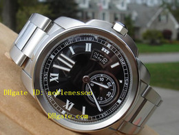Hot with Box Mens Calibre W7100015 Steel Bracelet Black Dial Wristwatch Automatic Stainless Steel Watch Sport Movement Men's Watch