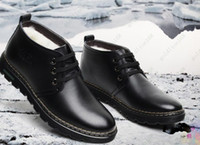 Wholesale Brand New winter wool men cotton shoes authentic men s Leather shoes leisure high help keep warm Leather Boots
