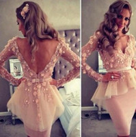 Wholesale 2014 new design Dust Pink Long Sleeve Prom Dresses with Knee Length Evening Gowns sheath V neck backless sash flowers sexy
