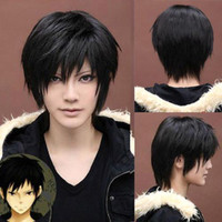 short hair wigs - S5Q Men s Fashion Short Black Straight Hair Full Wigs Cosplay Costume Party Festival Gift AAACMJ