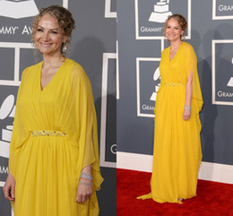 Wholesale 2014 Cheap Yellow Plus Size Mother of the Bride Groom Dresses Joan Osborne in th Annual GRAMMY Awards Evening Dress Formal Dresses Gowns