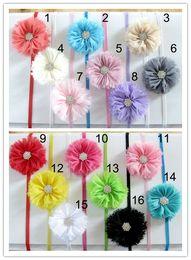 Wholesale 32pcs Newborn Photo Headbands Mixed Color Rhinestone Shabby Flowers Infant Head Dress accessories