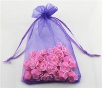 Wholesale 100 Lavender color organza gift bag drawstring bags cm