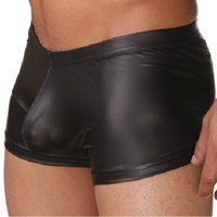 Wholesale underwear men sexy faux leather Men s fashion boxers shorts Man panties brand tight boy High quality nylon satin boxer novelty