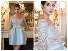 Wholesale 2014 New Arrival Zuhair Murad Dresses Light Sky Blue Short Cocktail Dresses With Lace Long Sleeves Best Quality ZH66