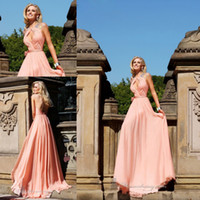 Wholesale High Quality Peach Color Open Back Beaded Long Chiffon Prom Dress Women WH418