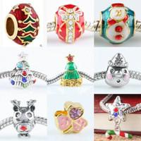 Wholesale Fit European Charms Bracelet X Mixed Style Chrismas Xmas Crystal Rhinestone Enamel Beads