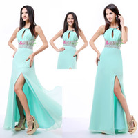 Reference Images Halter Chiffon Wholesale-In Stock 2014 Sexy Aqua Side Slit Chiffon Sequins Halter Sleeveless Long Prom Dresses Floor-length Sheath Zipper Evening GownsAL61