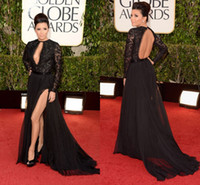 Wholesale 2015 Black Sexy Eva Longoria in th Golden Globes Awards Dresses High Slit Backless Evening Dress Formal Dress Gowns Custom Prom Dress SSJ