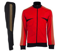 Wholesale 2013 Milan Training Presentation Suit Red Color Soccer Sport Uniforms High Quality Long Sleeve Sportswears US Size S M L XL