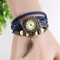 Wholesale Promotion Mix Colors Cow Leather women Watches Leather Wing Charm Watches LP018