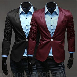 Wholesale Handsome Cotton Wine Red Men s Suit Business Casual Single Button Lapel Collar Long Sleeve Solid Color Men s British Style Suits E033