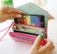 2014 Hot Venda 7 cores PU Leather Case Crown inteligente Pouch / Mobile Phone Case / Mobile Phone Bag / Card / PU Carteira frete grátis