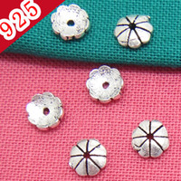 Wholesale Real Pure Silver Antique Silver mm wide Flower Spacer Jewelry Parts Fit for DIY Bracelets or Necklace