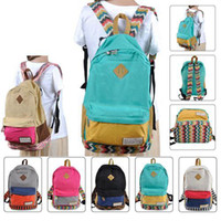 Wholesale S5Q Boy s Girl s Unisex Backpack Patchwork Sweet Canvas School Bag Rucksack AAACLK