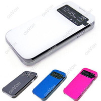 Wholesale S5Q New Flip PU Leather Case Cover Smart Wake View For Samsung Galaxy S4 S IV i9500 AAACKQ