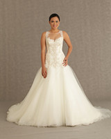 Wholesale Gorgeous Spaghetti Strap Corset Bodice Sheer Wedding Dresses With Applique Bridal Ivory Wedding Dress With Strap Covered Button Dresses