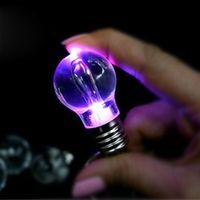 Round acrylic ideas - Creative LED light bulb keychain colorful T keychain key chain gift ideas