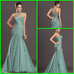 Wholesale Vestidos De Noiva Custom Made Mermadi Formal Evening Dresses One Shoulder with Pleats Hand Made Flower Sweep Train Prom Gowns