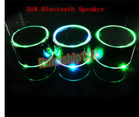 Wholesale Enhanced Super Bass Metal S08 Mini Portable Hi Fi Bluetooth Speaker with round LED Speakers For iPhone s c s ipad Samsung HTC LG