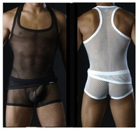 Wholesale MLXL Men s Sex Underwear Male Transparent Lingerie Sets Sexy Big Mesh Tank boxes Black White Vest and Panties Set
