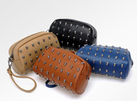 1PCS Fashion Brown Punk Skull Rivet Wristlet Clutch #24112