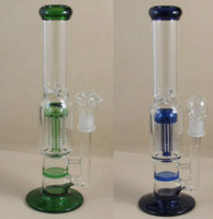 Wholesale 12 Inches two function Arm percolator and honey comb glass bong glass water pipe clear blue green Golden color WPS