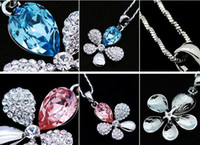 Wholesale Fashion Zircon Crystal Jewelry K White Gold Plated Rhinestone Flower Pendant Shamballa Necklace Long Chain Jewelry VP