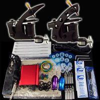 2 Guns Beginner Kit  Wholesale Beginner 2 Gun Kit Tattoo Machine Power Supply Foot Pedal Needles Grip Tip Ink Cups CY12-1