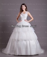 Ball Gown Model Pictures Scoop 2014 New Real Image Bridal Gowns Lovely Custom High Quality White Chapel Train Ball Gown Scoop Applique Flowers Tiers Sheer Wedding Dress
