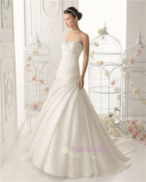 Wholesale 2014 New Aire Sheath Sexy Elegant Wedding Dresses Sweetheart Organza Beads Ruched Chapel Train