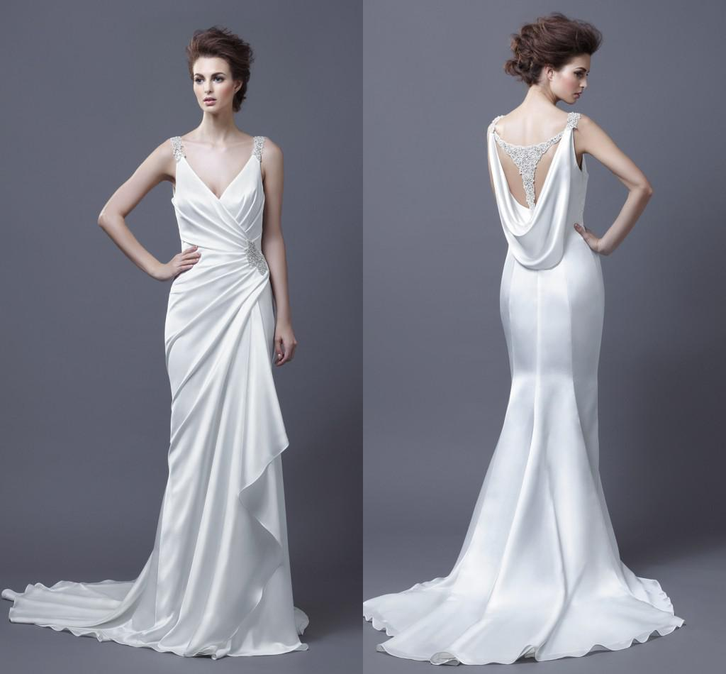 Simple v neck criss cross wedding dresses cutout back for Cross back wedding dress