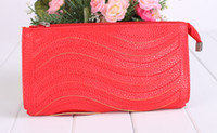 1pcs Red Fashion Waved Wallet Wristlet Clutch #24157
