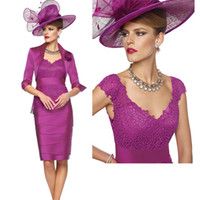 Wholesale Mother of Bride Lace Dresses with Jackets Knee Length Veni Infantino Plunging V Neck Sleeveless Hat not included