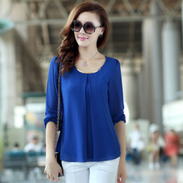 Wholesale 2014 New Fashion Hot Sale Plus Size Casual Long Sleeve Chiffon shirts For Women W4279