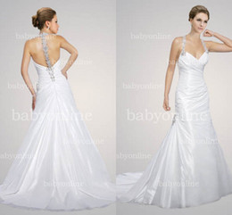 Wholesale 2014 Sexy Backless Halter Sweetheart Neckline Mermaid Sheath In Stock Wedding Dresses Crystals Beads Garden Beach Bridal Gown MS428