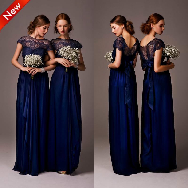 New High Neck Cap Sleeve Satin Lace Bridesmaid Dresses Party Dress ...